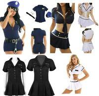 Women Police Officer Cop Uniform Halloween Fancy Dress Lingerie Cosplay Costumes