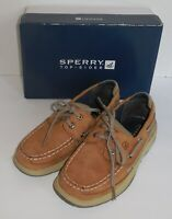 Sperry Top-Sider Boys 3 Youth Lanyard Tan Navy Casual Shoes New YB46122A Brown