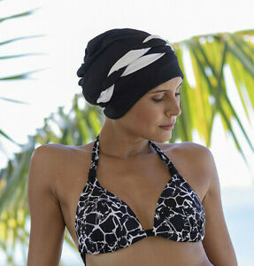 Ladies Swim Cap - Black & White Retro Fashy Swimming Bathing Cap