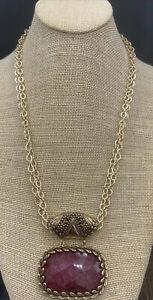 Barse Flowerbomb Pendant Necklace- Raspberry Quartz & Bronze- NWT