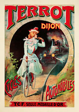 Terrot Dijon Cycles Automobiles Chemins de Fer Art Nouveau Affiche Affiches a3 377