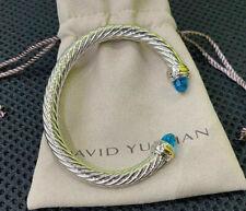 David Yurman 14K Gold 7mm Sky Blue Crystal Stone Cable Cuff Bracelet