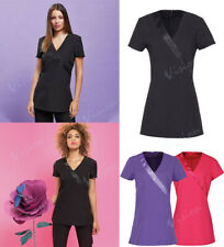 PREMIER WRAP SATIN TRIM BEAUTY AND SPA TUNIC FOR SALONS, NAIL BARS, MASSAGE VETS