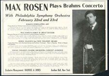 1918 Max Rosen photo violin recital booking trade print ad