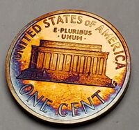 1996-S LINCOLN MEMORIAL PROOF CENT PENNY DEEP TONED VERY NICE BLUE COLORS!