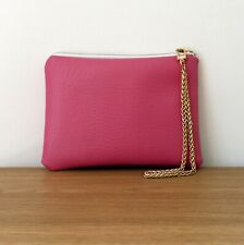 Clutch Bag Hand Evening Strap Faux Leather Purse Handmade Travel Wedding Pink