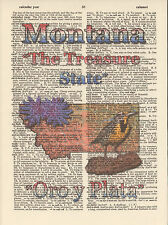 Montana State Map Symbols Altered Art Print Upcycled Vintage Dictionary Page