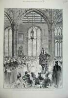 Original Old Antique Print 1887 House Commons State Jubilee Church Westminster