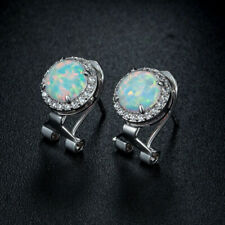 Women's Stud Earrings 14K White Gold Finish New listing