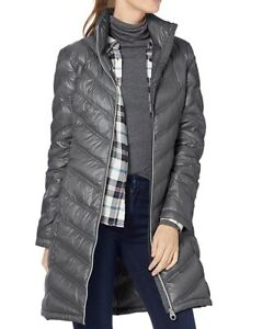 Calvin Klein Women Puff Coat Gray Size Small S Chevron Quilted Packable $119 806