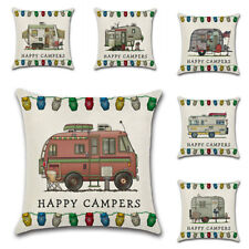 1PC Cotton Linen Happy Campers Pillow Case Cushion Cover Car Sofa Office Decor