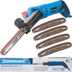 Silverline 260W Electric Power Sander Belt File With 20 13mm Sanding Belts