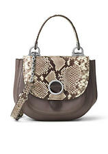 NWT Michael Kors ISADORE Med Python-Embossed Top Handle Messenger CINDER/NATURAL
