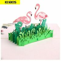 New 3D Pop Up Love Greeting Card Valentine Christmas Birthday Card - Flamingo