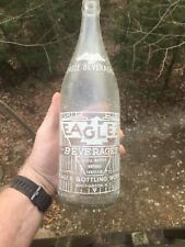 Vintage EAGLE WHITE EMBOSSED SODA Beverages 32 Oz Bottle