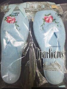 vintage Dearfoams slippers large 8-9 light blue with roses 1970's unused! NIP