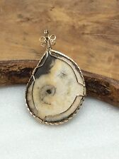 Vintage Artisan Gold Tone Wire Wrapped Fossil Pendant