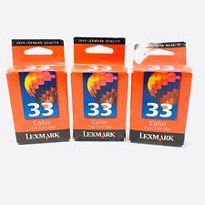 Lexmark 33 Tri-Color Ink Cartridges (3) 18C0033 Genuine New Sealed Boxes Printer