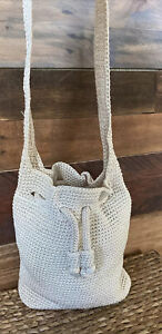 the SAK White Drawstring Crochet Bucket, Boho Handbag
