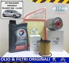 KIT TAGLIANDO OLIO TOTAL + 3 FILTRI ORIGINALI PEUGEOT 208 1.6 HDI  92 CV 114 CV