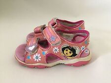 Nickelodeon's Dora The Explorer Light Up Open Toe Sandals ~ Size 8 ~USED