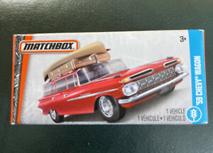 Boxed Matchbox 1959 Chevy Station Wagon Red Car MBX Superfast Canoe on Top