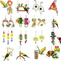 Parrot Pets Bird Chew Cages Toys Wood Large Rope Cave Ladder Bells Che N0Y3