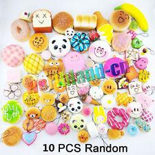 10Pcs Jumbo Medium Mini Random Squishy Panda/Bread/Cake/Buns/Donut Phone Straps