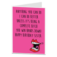 Funny Rude Happy Birthday Card For Sister Perfect For Older & Younger All Ages