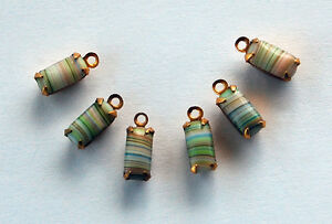 VINTAGE STRIPED GLASS OCTAGON PENDANT BEADS BRASS SETTING 4x8mm GREEN or BLUE