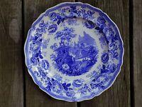 HULME ANTIQUE 1828 STAFFORDSHIRE BLUE TRANSFER PLATE DISH MONTES PYRENENES ENGLA