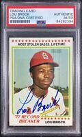 Lou Brock auto card 1978 Topps #1 MLB St. Louis Cardinals PSA Encapsulated