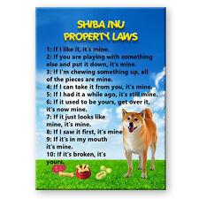 SHIBA INU Property Laws FRIDGE MAGNET No 1 New DOG Steel Cased