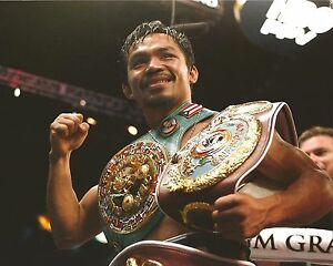MANNY PACQUIAO 8X10 PHOTO BOXING PICTURE WITH BELTS