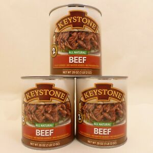 3 - 28 oz Cans Keystone All Natural Shredded Beef Emergency Survival Food Supply