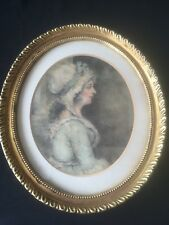 18th Century Pastel & Chalk Portrait  of Young Woman Wearing Lace Bonnet & Dress