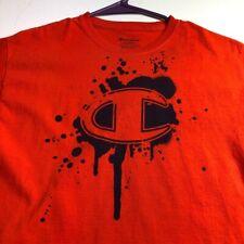 Champion C Kids Short Sleeve T Shirt Large L Orange Black Logo Crewneck