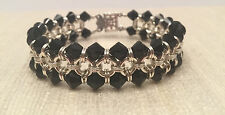 Handmade Chainmaille Bracelet Silver Filled with Black Swarovski Crystals. 7 In.