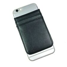 Black Plain Solid Unisex Sticky 3M Cell Phone Pocket Wallet Card Holder ID
