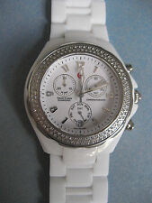 "MICHELE WHITE CERAMIC TAHITIAN 0.57CT DIAMOND 40MM MWW12L ""SWEET"""