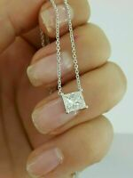 "0.50 Ct Princess Cut Diamond 14k White Gold Fn Solitaire Pendant With 18"" Chain"