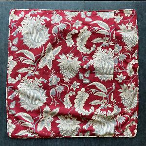 "NEW 26"" Pottery Barn Red Floral Palampore Linen Cotton European Pillow Case Sham"