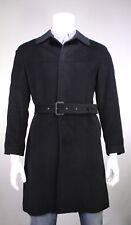 * RICHARD JAMES * Savile Row Black Belted 3/4 Length Modern Fit Wool Overcoat 40