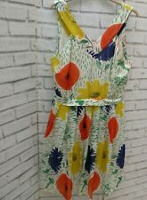 Anthropologie Girls From Savoy Silk Dress Bright Floral Sz 12 Vintage Style