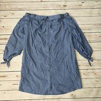 Beige by ECI Off the Shoulder Blue Stripe Shirt Dress New Size 10