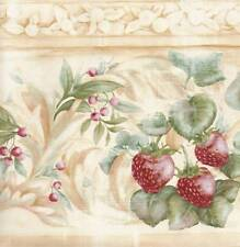 STRAWBERRIES on Vines Tuscan Wallpaper BORDER