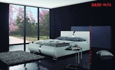 ITALIAN DESIGN QUEEN SIZE WHITE PU LEATHER BED FRAME