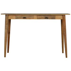 Mid Century Nordic Scandinavian Solid Wood Writing Desk Table with 2 drawers