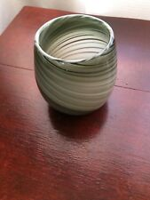 Contemporary Glass Bulb Vase with Grey Swirl Pattern