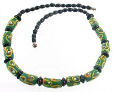 """VINTAGE KROBO GHANA RECYCLED GLASS AFRICAN TRADE EYE BEADS BLACK NECKLACE 19"""""""